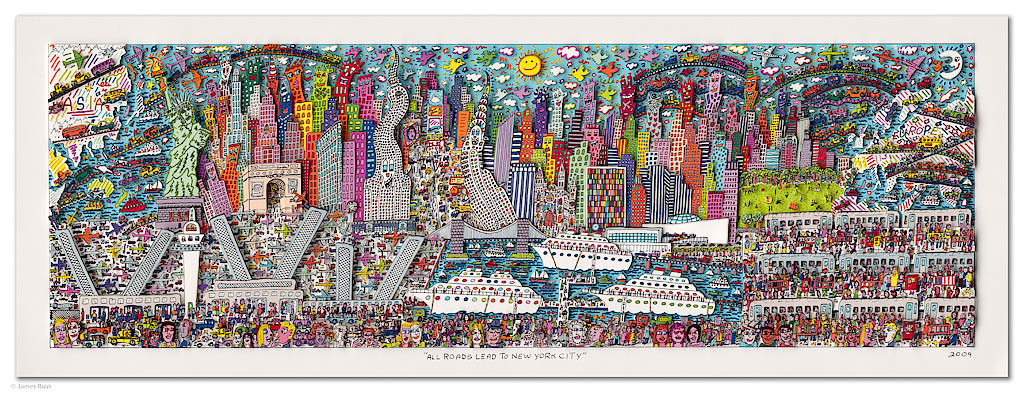 James Rizzi - ALL ROADS LEAD TO NEW YORK CITY