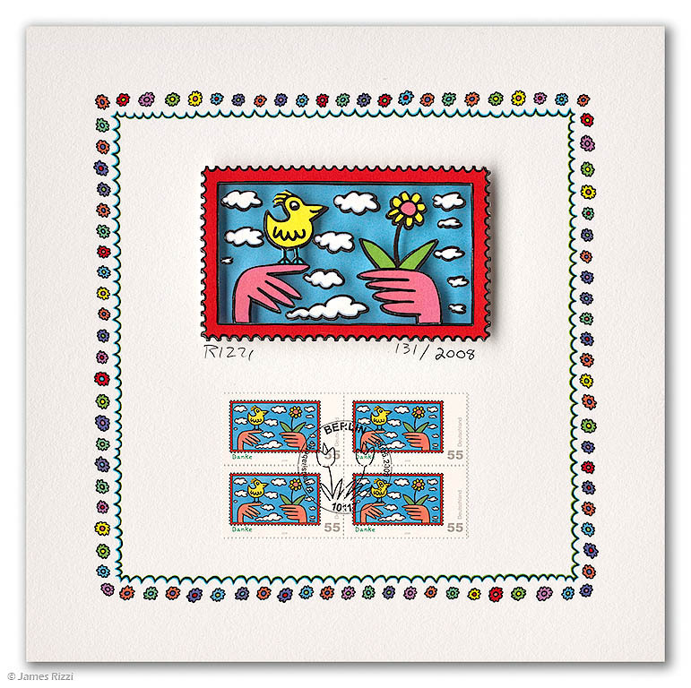 James Rizzi - DANKE (Briefmarkenmotiv Vogel)