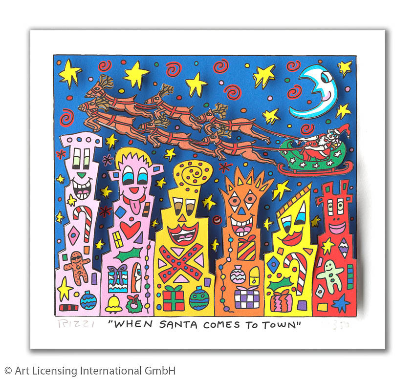 James Rizzi - WHEN SANTA COMES TO TOWN