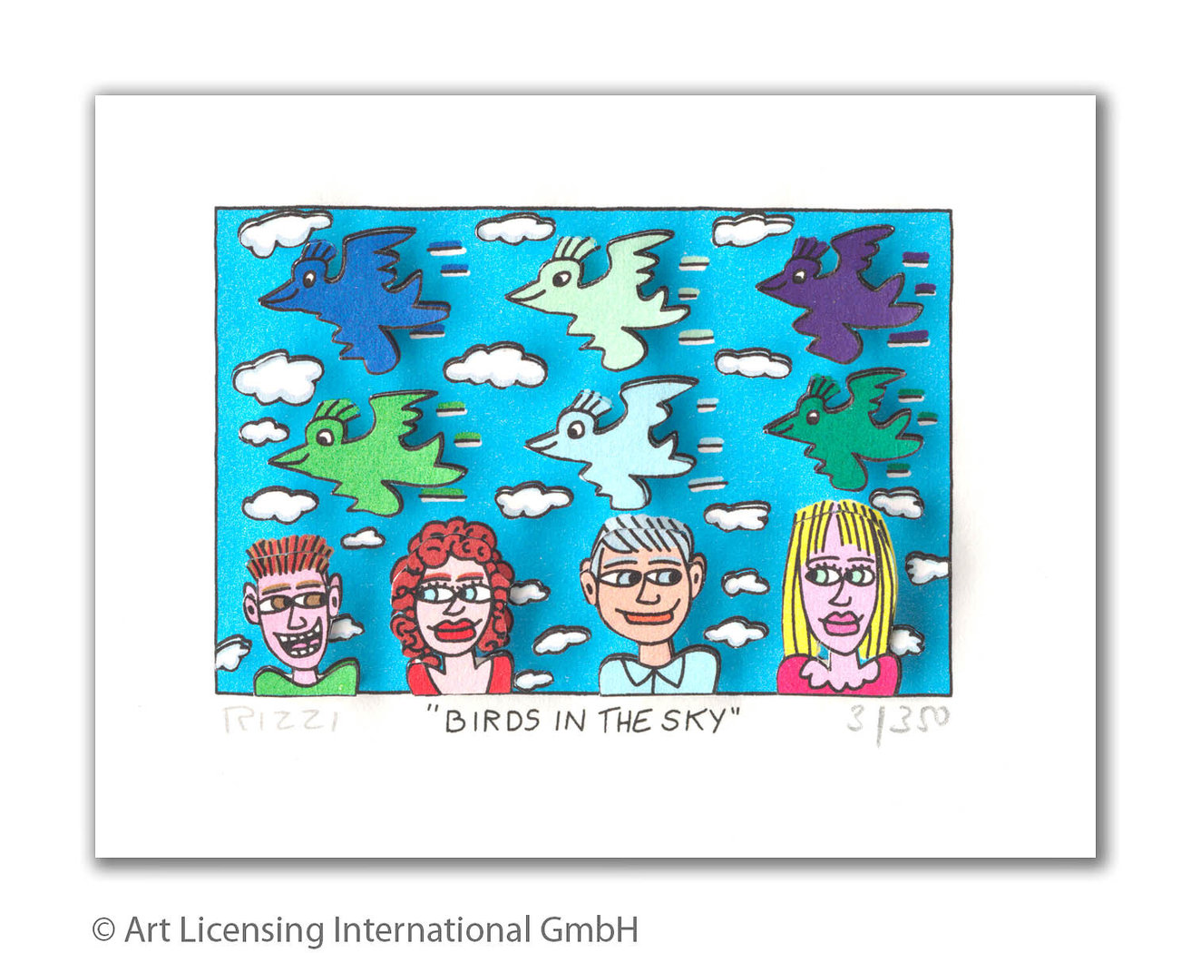 James Rizzi - BIRDS IN THE SKY