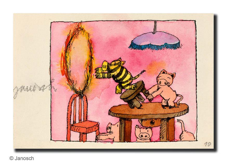 janosch tigerschweinchen durch den brennden reifen. Black Bedroom Furniture Sets. Home Design Ideas