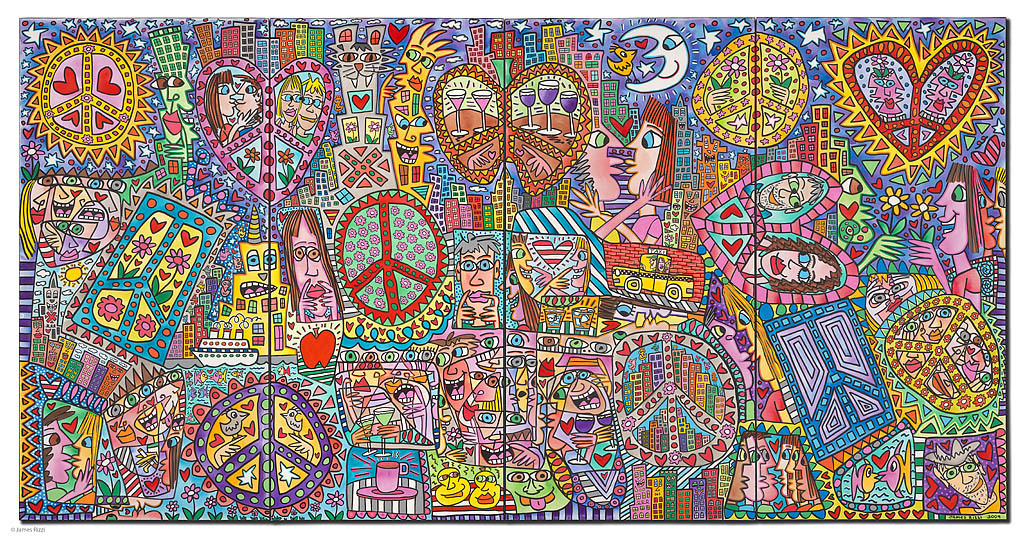 James Rizzi - GIVE PEACE A CHANCE I - IV inkl. Rahmen