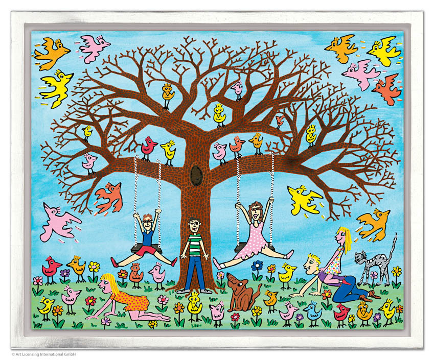James Rizzi - TREE TIMES THE FUN inkl. Rahmen