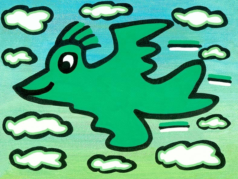 James Rizzi - RIZZI BIRD (green on turquoise) - inklusive Schattenfugenrahmen