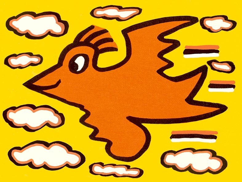 James Rizzi - RIZZI BIRD (orange on yellow) - inklusive Schattenfugenrahmen