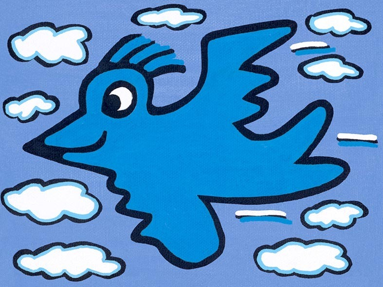 James Rizzi - RIZZI BIRD (blue on blue) - inklusive Schattenfugenrahmen
