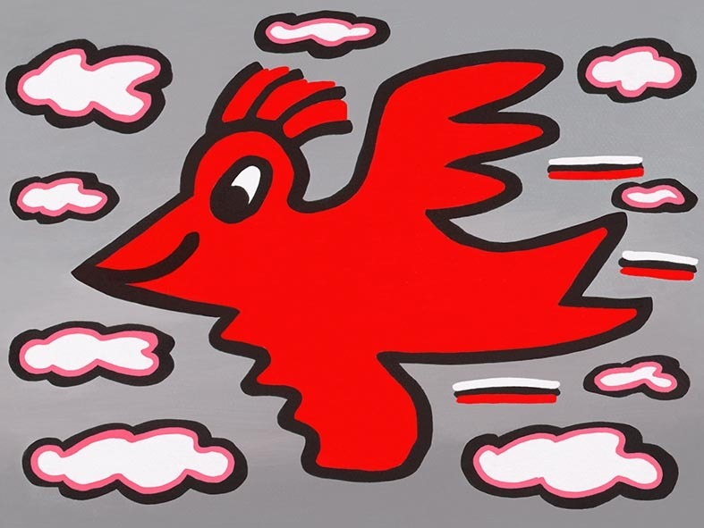James Rizzi - RIZZI BIRD (red on grey) - inklusive Schattenfugenrahmen