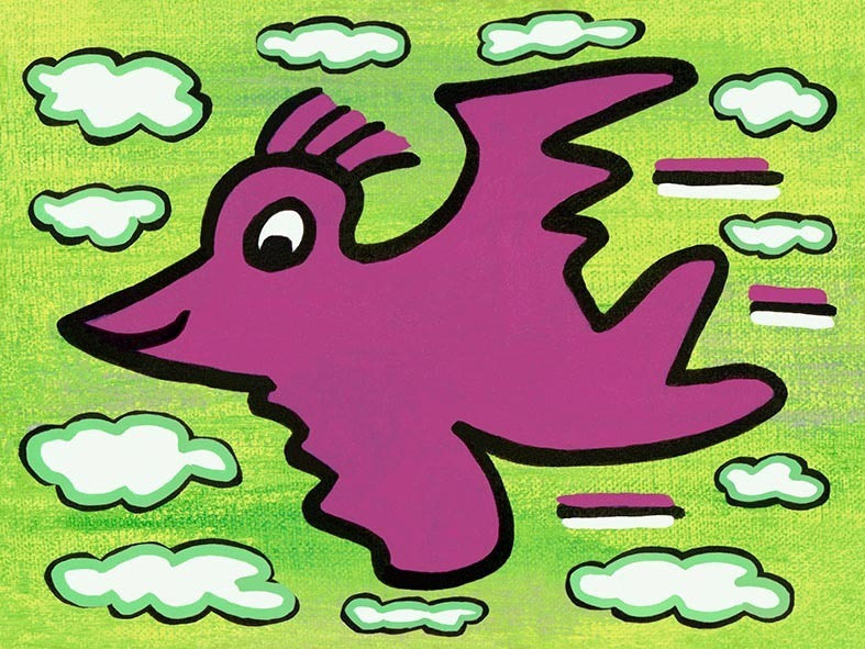 James Rizzi - RIZZI BIRD (purple on green) - inklusive Schattenfugenrahmen