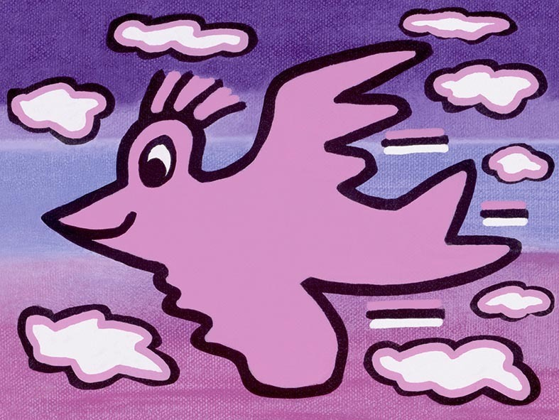 James Rizzi - RIZZI BIRD (pink on violet) - inklusive Schattenfugenrahmen